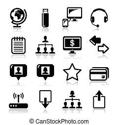 toile, internet, simple, noir, icônes
