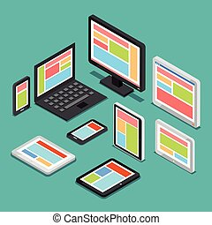 toile, isométrique, concept, différent, appareils, écrans, conception, sensible, électronique, 3d