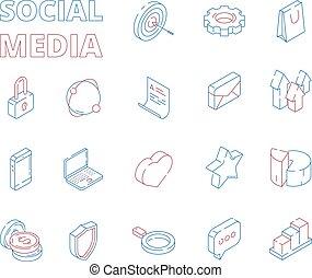 toile, isométrique, ensemble, réseau, message, média, commercialisation, images, courrier, symboles, graphiques, vecteur, mince, social, cœurs, ligne, numérique, nouvelles, icon., goûts