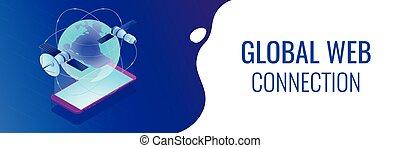 toile, isométrique, global, header., connexion, bannière, 3d