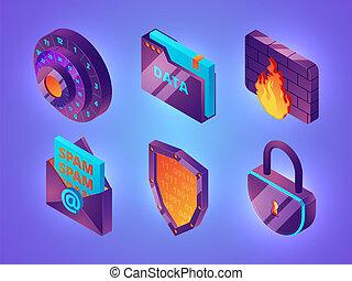 toile, isométrique, informatique, protection, personnel, images, ligne, coupe-feu, vecteur, sécurité, internet, services, sécurité, données, 3d.