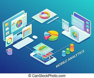 toile, isométrique, plat, mobile, illustration, infographic, analytics, vecteur