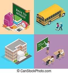 toile, isométrique, reveil, students., livres, autobus, sac à dos, horloge, eduquer enseignant, quatre, classe, vecteur, planche, concepts, enfants, bâtiment