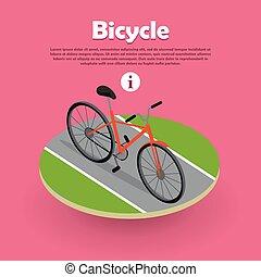 toile, isométrique, vélo, banner., conception, route, icône