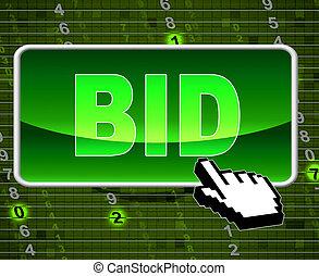 toile, large, offre, vendre enchères, indique, mondiale, bouton