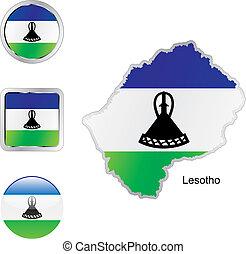 toile, lesotho, boutons, formes, drapeau, carte