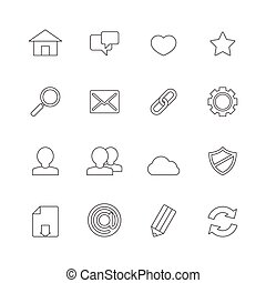 toile, ligne, icônes