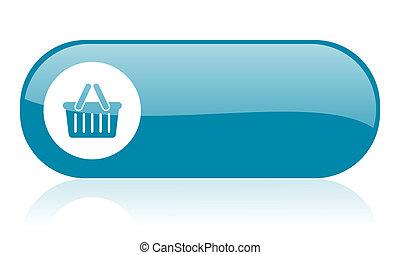 toile, lustré, achats, bleu, charrette, icône