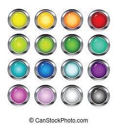 toile, lustré, boutons, icônes