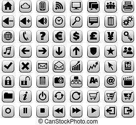 toile, &, média, boutons, internet, nouveau