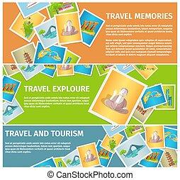 toile, mémoires, voyage, explorer, bannières, tourisme