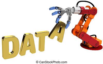 toile, mémorisation des données, robot, main, technologie