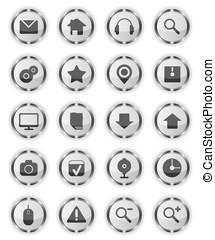 toile, métal, verre, icônes