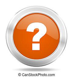 toile, mobile, marque, app, question, illustration, bouton, orange, conception, icône internet, métallique