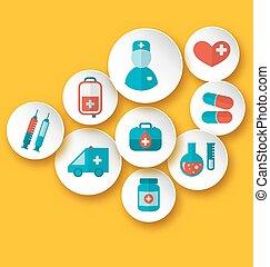 toile, monde médical, mettez stylique, icônes