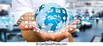 toile, mondiale, utilisation, icônes, numérique, homme affaires