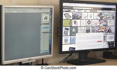 toile, moniteur ordinateur, fonctionnement, deux
