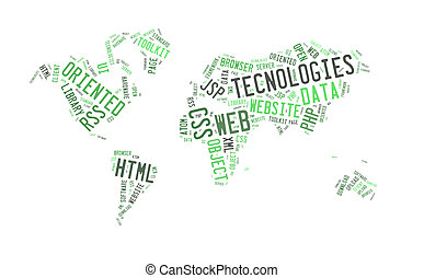toile, mot, carte, forme, mondiale, technologie