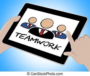 toile, moyens, ligne, ensemble, collaboration, internet