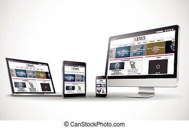 toile, multiple, business, site, appareils, vecteur, internet, nouvelles