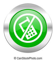 toile, non, chrome, isolé, téléphonez icône, cercle, vert