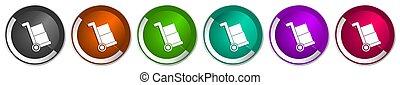 toile, options, boutons, ensemble, chrome, frontière, service, 6, expédition, icône, brouette, vecteur, webdesign, métallique, argent, livraison, couleurs