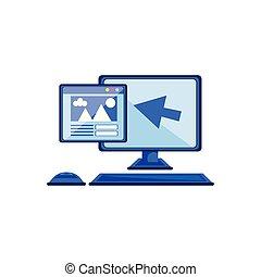 toile, ordinateur bureau, flèche, indicateur, page