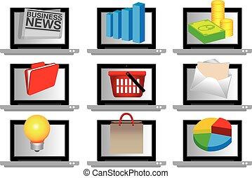 toile, ordinateur portable, e-commercial, informatique, business, icône