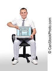 toile, ordinateur portable, page, gabarit, homme