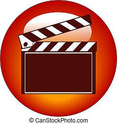 toile, ou, film, icône, bardeau, bouton rouge