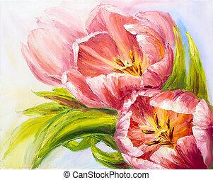 toile, peinture huile, tulipes