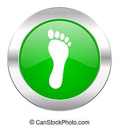 toile, pied, chrome, isolé, icône, cercle, vert