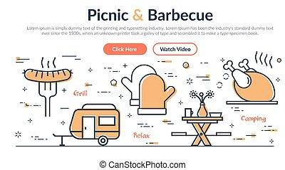 toile, pique-nique, -, site, en-tête, barbecue