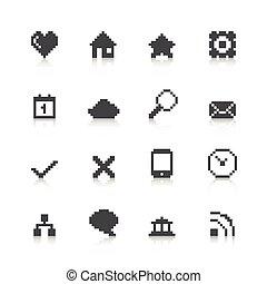 toile, pixel, icônes