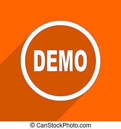 toile, plat, mobile, demo, app, button., illustration, conception, orange, icon.