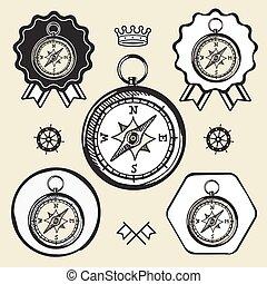 toile, plat, vendange, symbole, signe, emplacement, compas, logo, étiquette, icône