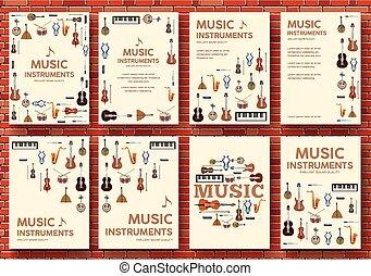 toile, produit, plat, ombre, icônes, festival, instruments, concept., mobile, applications., long, ou, arrière-plan., vecteur, conception, illustration, gabarit, infographics, musique, cercle, ton
