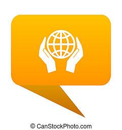 toile, protéger, isolated., main, la terre, orange, ampoule, icône