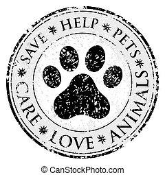 toile, protéger, ou, grunge, button., patte, poste, chien, icon., chat, vecteur, sale, label., textured, stamp., cercle, signe, bannière, ton, symbole., animaux familiers