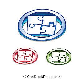 toile, puzzle, 3d, lustré, icône