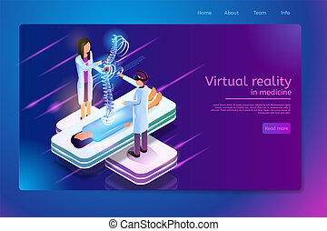 toile, réalité virtuelle, vecteur, médecine, bannière