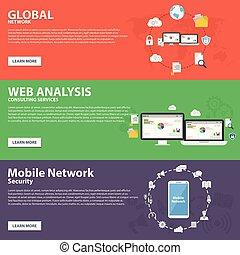 toile, réseau, concept, réseau, plat, mobile, global, vecteur, conception, gabarit, analyse, bannière, icône
