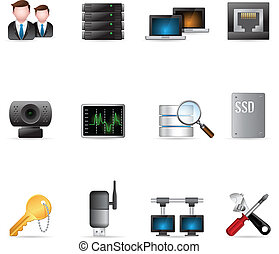 toile, réseau, icônes, -, informatique, plus