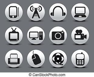 toile, résumé, ensemble, électronique, icône