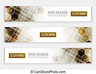 toile, résumé, pattern., ou, en-têtes, vecteur, hexagonal, bannières