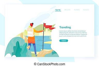 toile, randonnée, explorateur, plat, text., randonnée, moderne, voyageur, travel., illustration, bannière, advertisement., vecteur, randonneur, randonneur, gabarit, trekking, endroit, tourisme, ou, aventure