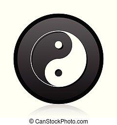 toile, reflet, chrome, métallique, yang, vecteur, arrière-plan noir, blanc, ying, argent, rond, icône