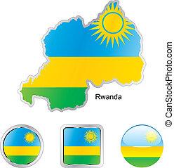 toile, rwanda, boutons, formes, drapeau, carte