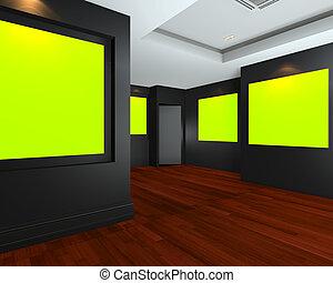 toile, salle, chromakey, vert, vide, intérieur, toile de fond