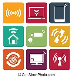 toile sans fil, ensemble, icônes technologie